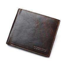 Men's Genuine Leather Bifold Credit Card Wallet RFID Blocking Anti Theft Purse