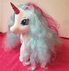 BEAUTIFUL LARGE TOY UNICORN with long blue hair - 25 cms. tall - unbranded.