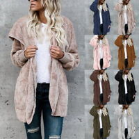 Women Fleece Fur Ladies Fluffy Cardigan Teddy Bear Hooded Coat Jacket Top Hot