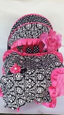 baby car seat cover canopy cover Blanket fit most infant seat damask/ dots pink
