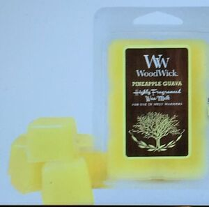 """WOODWICK 6-Piece Fragrance Candle Melts """"PINEAPPLE GUAVA"""" Scent 2 oz YELLOW New"""