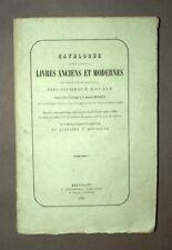 CATALOGUE VENTE DE LIVRES anciens et modernes Bibliotheque Royale 1861