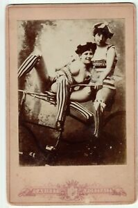 French nude two lesbians original 1910s postcard real photo Portrait Cabinet