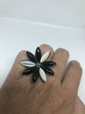 Vintage Mop Black Onyx Flower Ring Real Marcasite 925 Sterling Silver Size 7