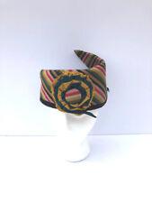 Unusual Vintage striped silk turban style hat Fab!