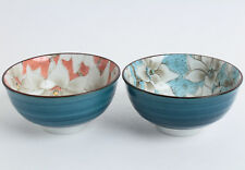 Mino ware Japanese Pair Rice Bowl Set of Two Magnolia Blue & Red made in Japan