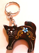 PORTE CLE CLEF BOIS WOODEN KEY HOLDER CHAIN ARTISANAT chat cat