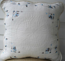 French Country Cushion Throw Pillow Cover Cream Blue Shabby Chic 45cm