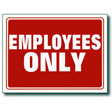 """Red & White 9 x 12 Inch Flexible Plastic """" Employees ONLY"""" Sign 2 Pc"""