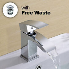 ARKE CHROME MODERN WATERFALL BATHROOM BASIN SINK MONO MIXER TAP + WASTE