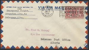 1930 AAMC #3031a Edmonton to McLennan Alta Emergency Flight #CL-48 Semi-Official
