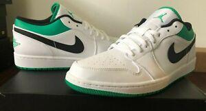 Nike Air Jordan 1 Low White Lucky Green Black Celtics Men Size 12.5
