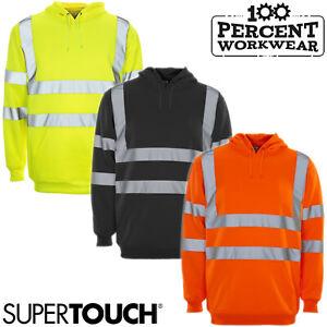 Supertouch High Visibility Hooded Hoodie Hoody Sweatshirt Top Work Safety Hi Viz