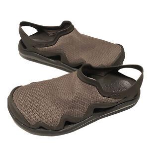 Crocs Swiftwater Mesh Wave Sandals Beach Walnut Espresso Mens Size 11 205701-23J
