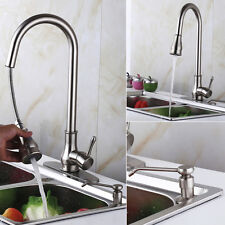 "18"" Pull Out Kitchen Sink Faucet with Soap Dispenser Brushed Nickel"