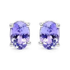 Sterling Silver Stud Earring Tanzanite Oval Gemstone Jewelry