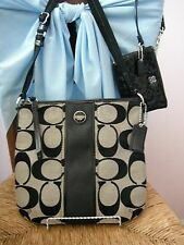 COACH CROSSBODY PURSE LOT~GRAY/BLACK DUFFLE & BLACK SEQUIN WRISTLET~ON SALE NOW!