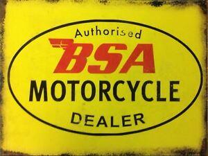 BSA Motorcycle Dealer  Retro Metal Plaque/Sign, Pub, Bar, Man Cave,