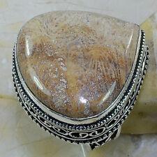 ARTIGIANALE CORALLO Fossil Crisantemo argento sterling 925 misura anello: 8.25 #