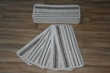 14 Cream Stripey Hard Wearing Carpet Stair Case Treads Vouge 312 Stripe Pads 14