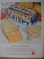 1961 Sunshine Krispy Saltine Crackers w/ Cheese Color Vintage Print Ad 10290