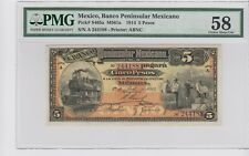 5 Pesos, Mexico, Banco Peninsular Mexicano P-465a 1914 PMG 58  .Choice A- UNC
