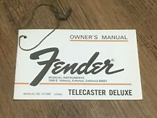 1974 Fender Telecaster Deluxe Owners Manual Warranty Hang Tag