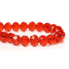1 STRAND (72) RED CRYSTAL FACETED RONDELLE BEADS ~8mm~Earrings~Bracelets (71B)