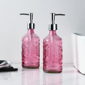2PC Pink Bathroom Accessories Glass Soap/Lotion Dispenser with Plastic Pump