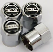 4 x Silver Chrome Tyre Valve Dust Caps (Fits NISSAN) - BLACK