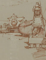 Malcolm Rogers - 1966 Pen and Ink Drawing, Mousehole