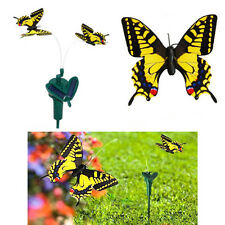 Twin Solar Powered Flying Butterflies Yellow Swallowtail for Patio Garden Decor