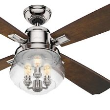 Hunter Fan 54 inch Traditional Polished Nickel Ceiling Fan with Remote Control