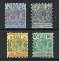 British Solomon  Islands 1914 2s, 2s 6d, 5s and 10s MLH/MH