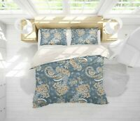 3D Floral Blue Quilt Cover Duvet Cover Comforter Cover Single/Queen/King 3pcs 35