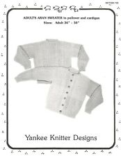 Adult Aran Sweater Pullover Cardigan Pattern Knitting Pattern Yankee Knitter #20