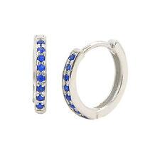 Sterling Silver Children's Hoop Earrings Dark Blue Cubic Zirconia 12mm x 2mm