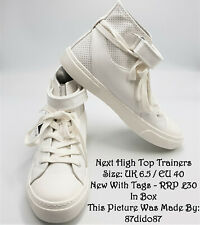 💙 Next White & Ivory Faux Leather High Tops Basketball Trainers Sneakers Shoes