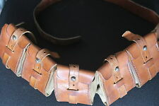 SWEDISH MAUSER ARMY BANDOLIER AMMO POUCH BROWN LEATHER & CANVAS A RARE STUNNER
