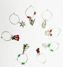 6 Black /& Silver Christmas Wine Glass Charms Secret Santa **Gift Box Cost Extra*