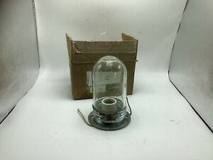 Vtg Hubbell Pendant Light Mount Fixture Industrial Jelly Jar style clear globe