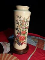 Vintage Japanese Crackle Glaze Floral Vase  Signed W/Red Stamp Rosewood Base