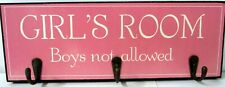 "TIMBER WALL ART ""GIRL'S ROOM BOYS NOT ALLOWED"" SIGN WITH THREE HANGING HOOKS! BN"