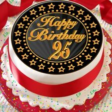 PRECUT 7.5 INCH CAKE TOPPER EDIBLE PREMIUM RICE PAPER AGE 25 25TH BIRTHDAY - 200