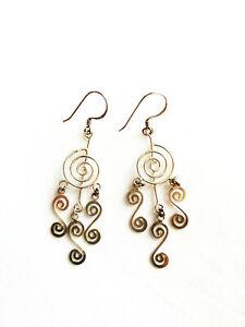 Sterling silver spiral drop dangle chandelier earrings 3.1g