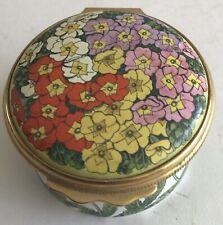 Vintage Halcyon Days Enamels Round Trinket Box England Colorful Flowers