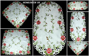 Pink roses tablecloth, table runner, doily with embroidered Roses
