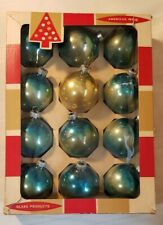 """Vintage Coby Blue Mercury Glass Christmas Ornaments USA 2.5"""" 12 In BOX"""