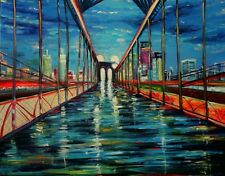 FineDecoArt GEMÄLDE LEINWANDBILD GEMALT STADT BRÜCKE NEW YORK BROOKLYN BRIDGE