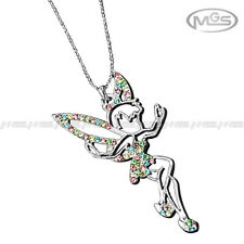 Necklace Tinkerbell Angel Fairy Pink Silver Colorful Rhinestone Pendant Gift
